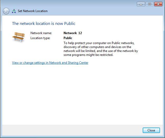 Windows 7, network, location, Home, Work, Public
