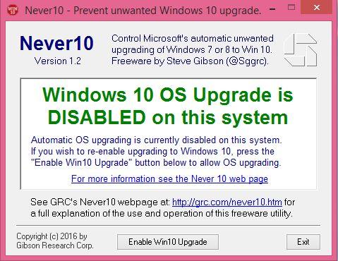 Never10, block, Windows 10, upgrade, offer, notification, pop-up