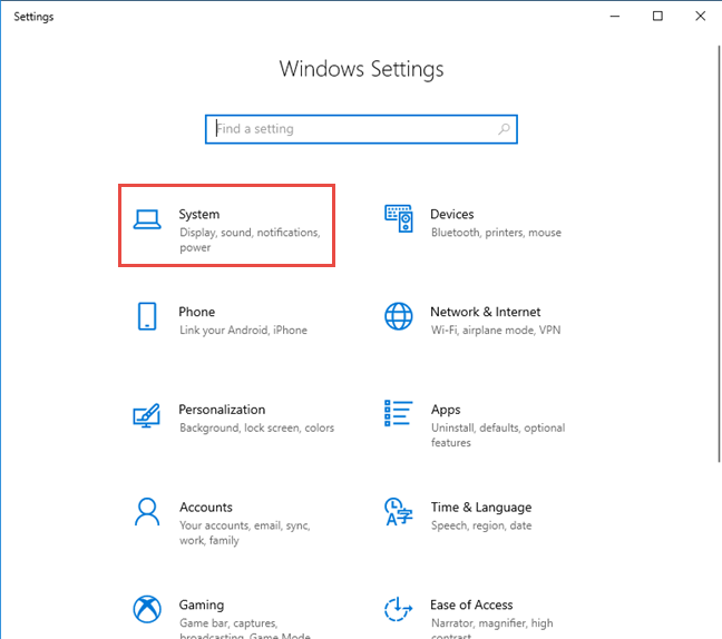 Windows 10 Settings -> Go to System