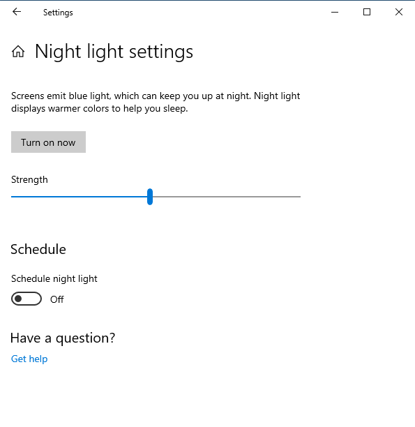 Configuring the Night light in Windows 10