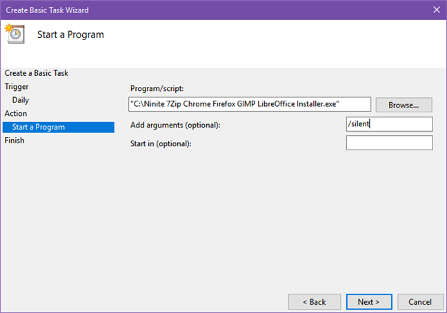 Creating a scheduled task that runs Ninite periodically to update your apps