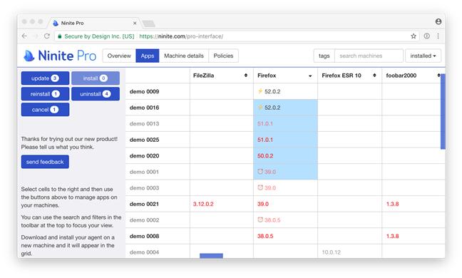 Ninite Pro interface