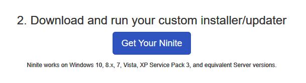 Downloading your custom Ninite installer