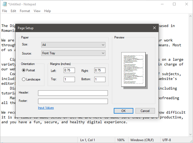 Page Setup settings available in Notepad