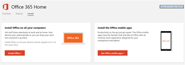The install links for Office 365 Home