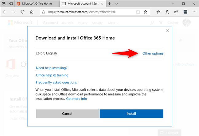 Choosing other options instead of the default Office 365 32-bit