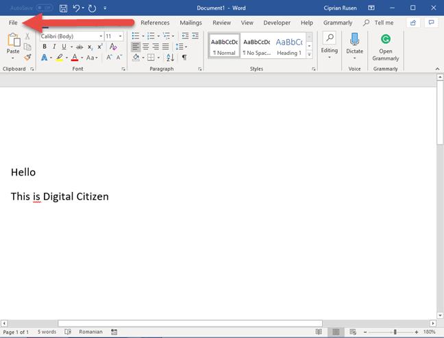 The File tab in Microsoft Word