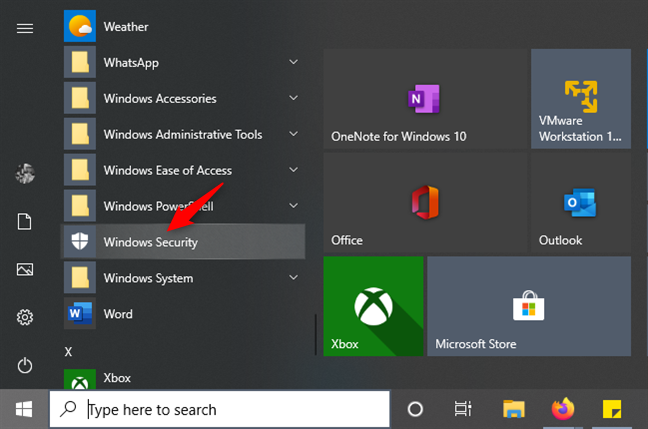 El acceso directo de seguridad de Windows desde el menú Inicio
