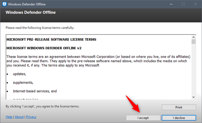 The license terms used by Windows Defender Offline