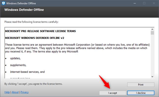Los términos de licencia utilizados por Windows Defender Offline