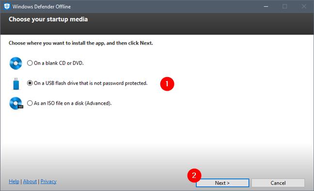 Elegir dónde instalar Windows Defender sin conexión