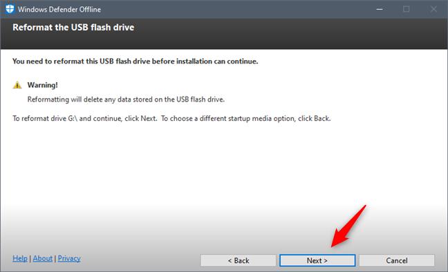 Windows Defender Offline necesita reformatear su unidad flash USB