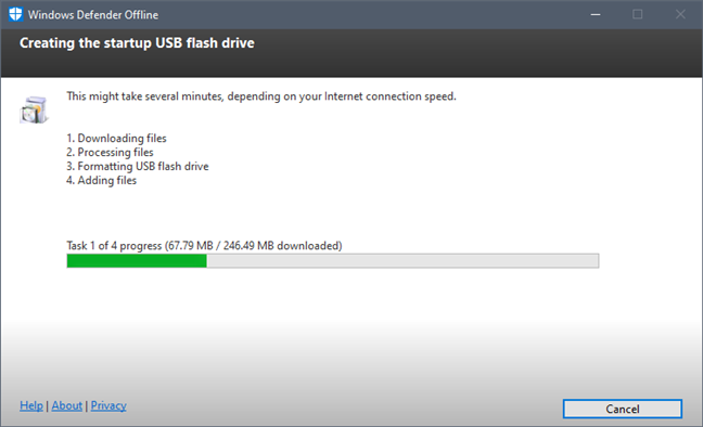 Windows Defender Offline está creando la memoria USB de arranque