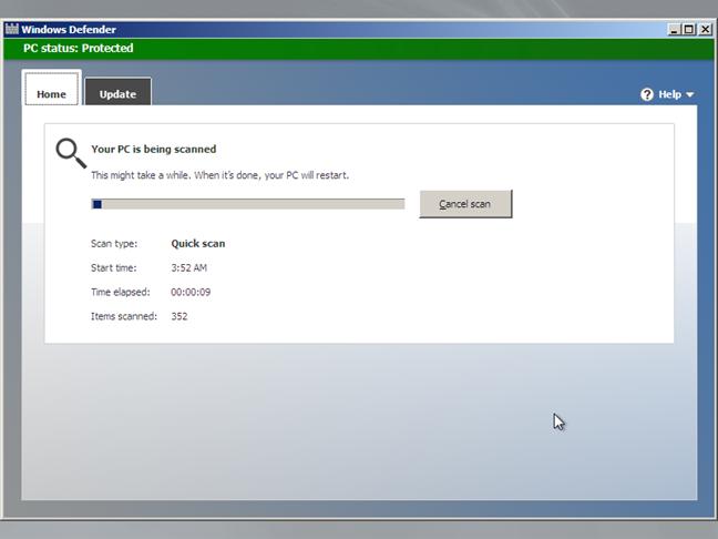 Windows Defender Offline está escaneando su computadora