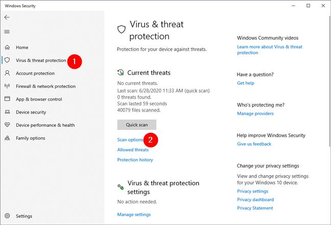 Seguridad de Windows: opciones de análisis