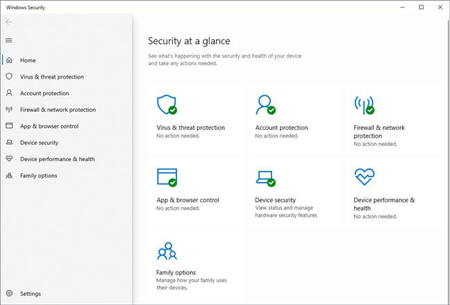 La aplicación de seguridad de Windows en Windows 10