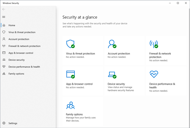The Windows Security app in Windows 10