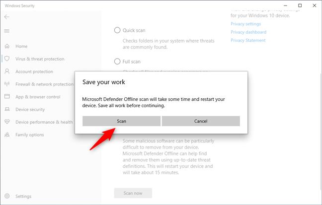 Microsoft Defender Offline le pide que guarde su trabajo