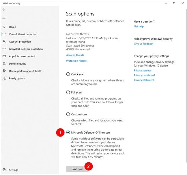 Starting a Microsoft Defender Offline scan