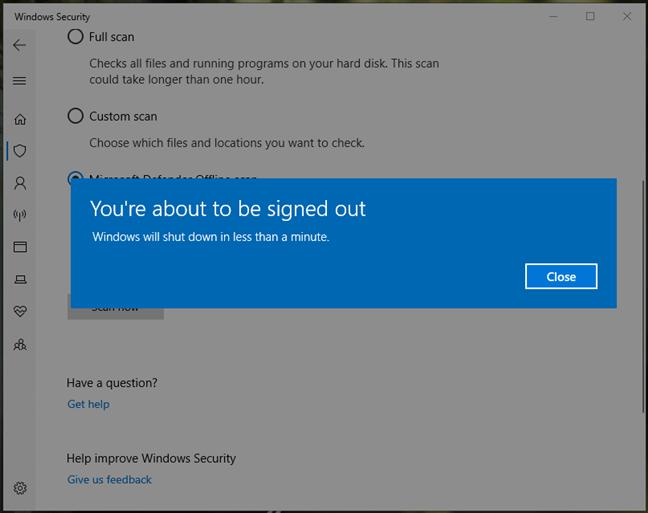 Windows informs you that it will shut down