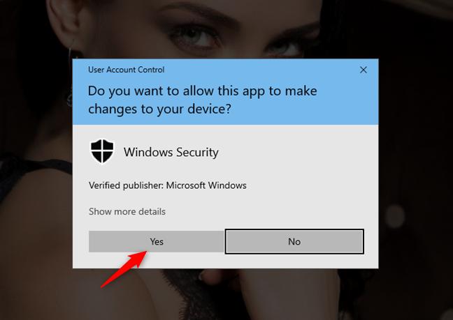 Un mensaje de UAC (Control de cuentas de usuario)