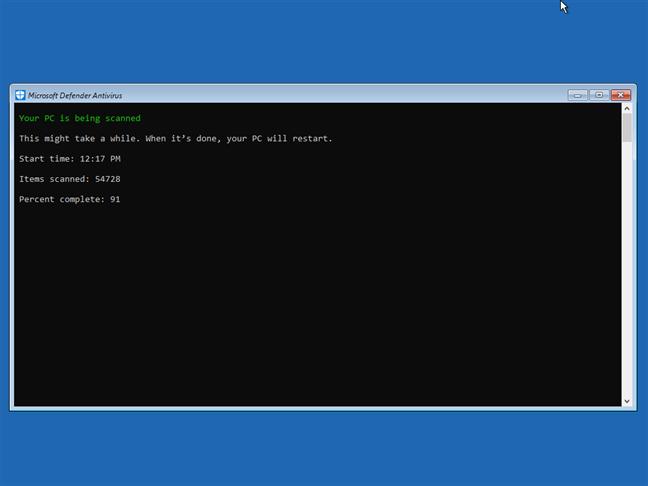 The Microsoft Defender Antivirus runs the offline scan