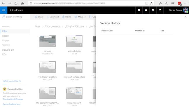 OneDrive, version history
