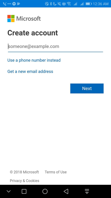 Create a Microsoft account in OneDrive for Android