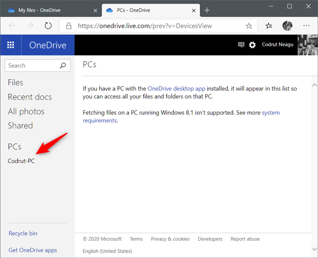 La lista de PC donde está habilitada la función Fetch Files de OneDrive