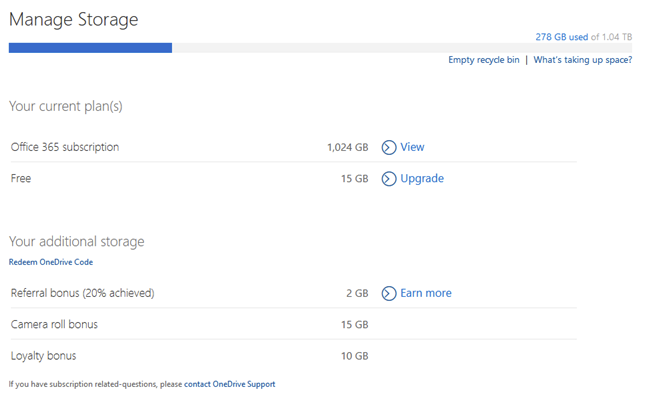 The Manage Storage options available for OneDrive