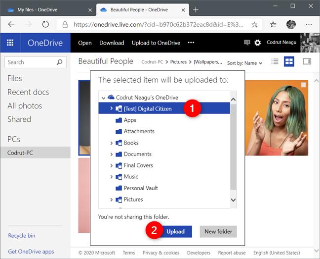 Elegir dónde cargar un archivo obtenido en OneDrive
