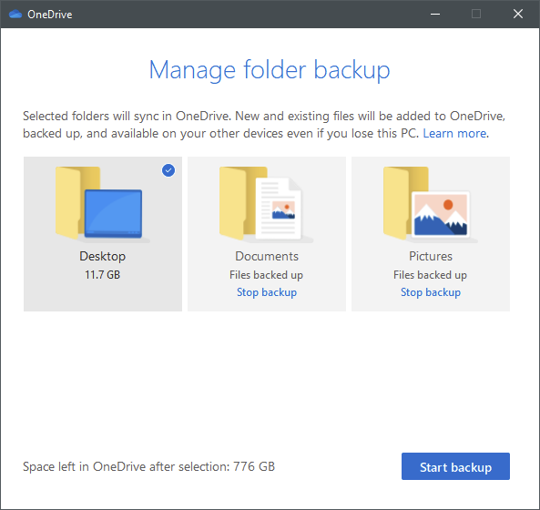 OneDrive can protect important folders from your PCs
