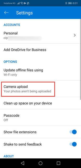 Change settings for Camera Upload in OneDrive for Android