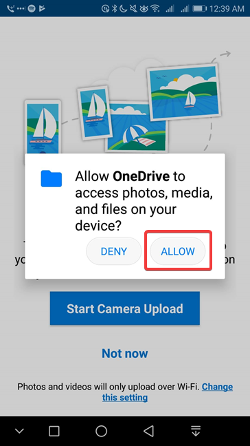 Allow OneDrive to access your Android photos, media, and files