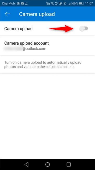 The Camera Upload switch from the OneDrive app