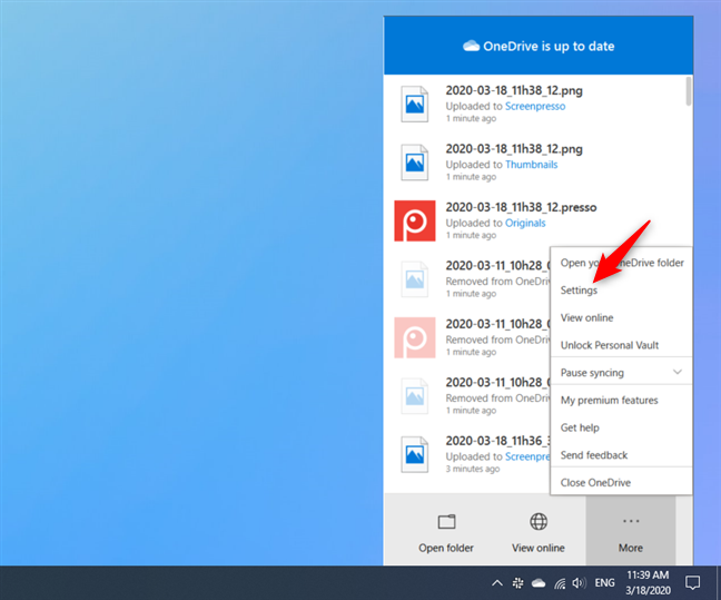 The Settings option from OneDrive's More menu
