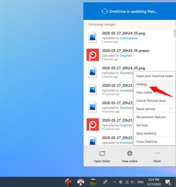 La opción Configuración del menú Más de OneDrive