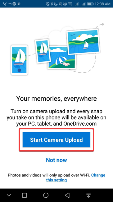 Start Camera Upload in OneDrive for Android