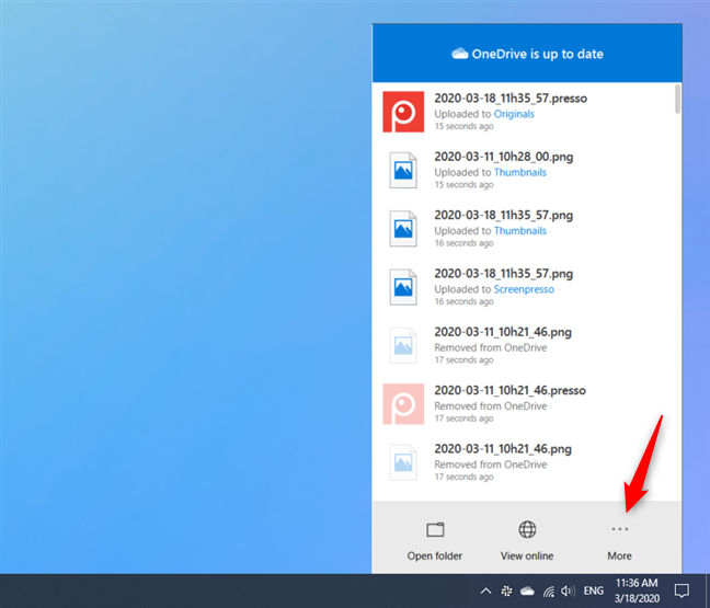 The More button from OneDrive's flyout