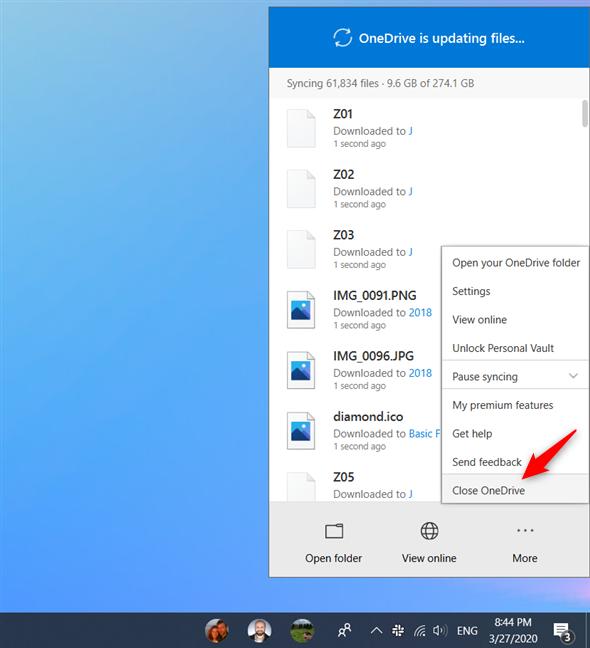 Cerrar OneDrive