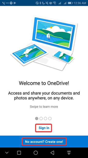 Sign in or sign up in OneDrive for Android