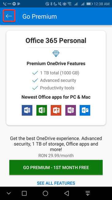 Go Premium offer in OneDrive for Android