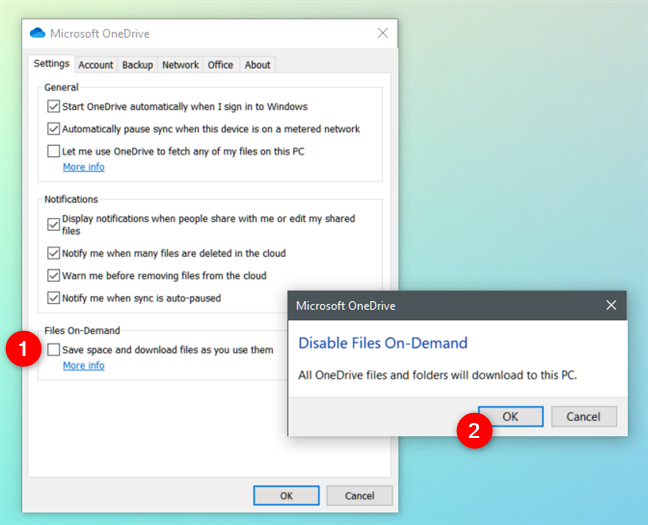 Turn off Files On-Demand: disable Save space and download files as you use them
