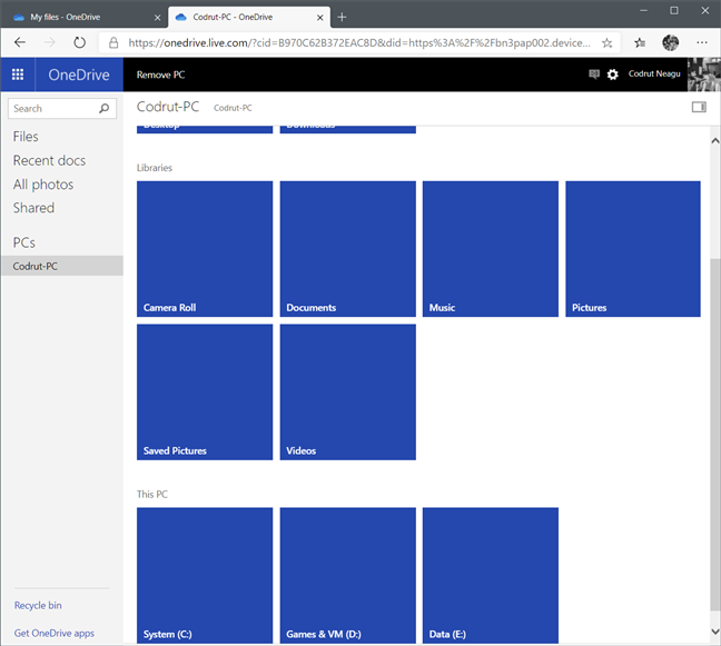 OneDrive's Fetch Files shows the drives, libraries, and favorite folders on a PC