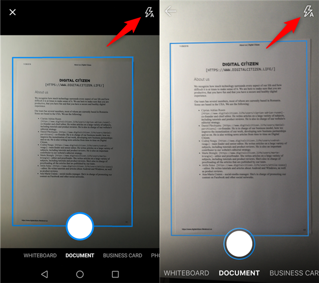 Setting the flash mode for the OneDrive camera
