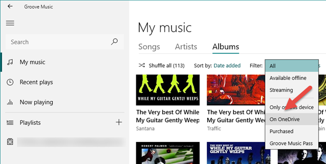 Groove Music, OneDrive, streaming