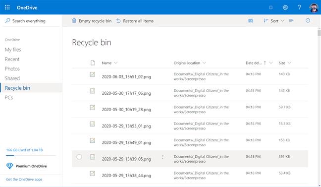 Carpeta Papelera de reciclaje de OneDrive