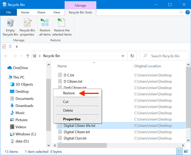 Restore deleted files from Windows 10's Recycle Bin