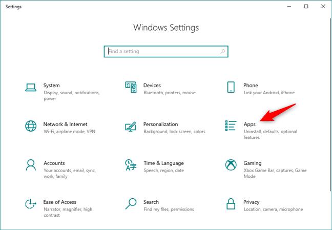 La categoría de aplicaciones de la configuración de Windows 10