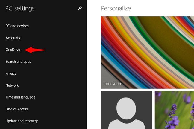 La entrada de OneDrive de la configuración de PC de Windows 8.1